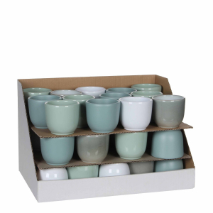 Pot rond Tusca - Blanc/Vert/Menthe - Ø 8cm