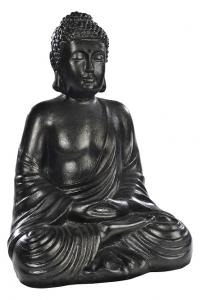 Bouddha Hindou ciré noir Hairie Grandon - Hauteur 50 cm