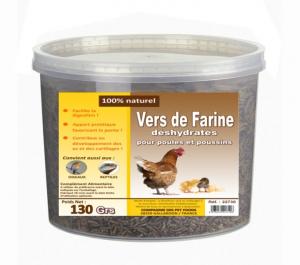 Vers de farine déshydratés pour poules et poussins - 130 g