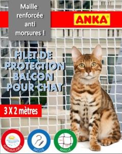 Filet de protection balcon et porte fenêtre pour chat et chaton - Anka - 3 x 2 m