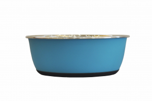 Bol antidérapant - En inox - Ø 20.5 cm - 1900 ml - Bleu mat