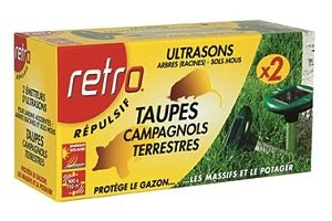 RETRO Répulsif TAUPES - Campagnols terrestres Jardins accidentés Energie solaire - SOJAM