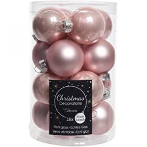 Mini-boules - En verre - 16 unités - Rose  brillant et Mat - Ø 3,5
