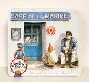 """Galettes bretonnes - boîte décor """"Café de la Marine"""" - Les galettes de Belle Isle - 540 gr"""