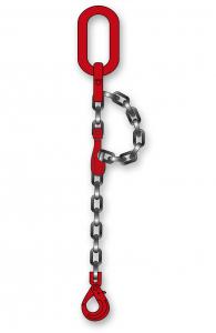 Elingue chaîne 1 brin avec crochet à chape de sécurité à verrouillage auto + crochet - Ø 10 mm - Longueur 2 m