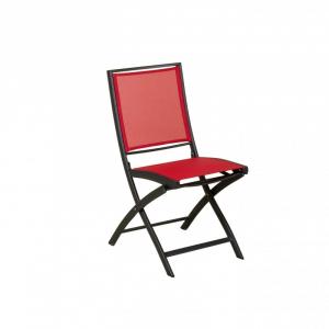 Chaise pliante Keneah - Les jardins - Alu Gris Anthracite et Tissu Corail