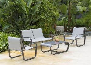 """Salon bas """"Flex"""" - POL - Sofa + table basse + 2 fauteuils - Gris"""