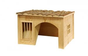 """Maison """"Nature"""" en bois avec râtelier pour rongeur - 42 x 34.5 x 27 cm"""