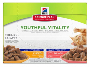 Aliment chat Science Plan Youthful Vitality - Hill's - 12 x 85 g