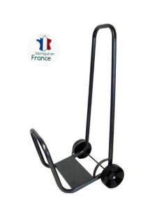 Chariot porte-bûches monobloc sur roues - Acier noir martelé