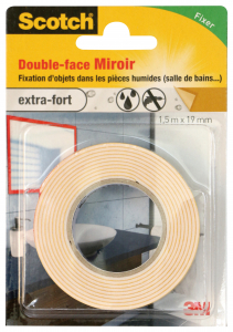 Double face miroirs - 3M - Blanc - 1,5 m x 19 mm