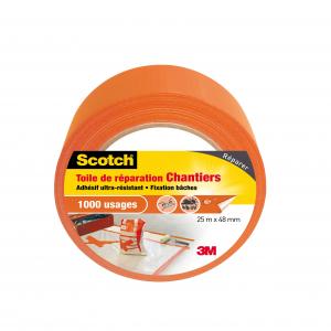 Toile de réparation Chantiers Scotch - 3M - Orange - 25 m x 48 mm