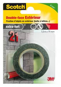 Double face extérieur - 3M - Noir - 1,5 m x 19 mm