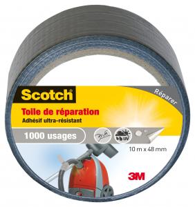 Toile de réparation Scotch - 3M - Gris - 10 m x 48 mm