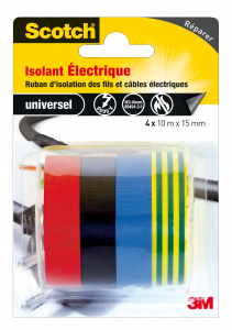 Ruban isolant électrique Scotch - 3M - 4 x 10 m x 15 mm