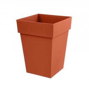 Pot mi-haut carré Toscane - 39 x 39 x 53 cm - Orange Potiron