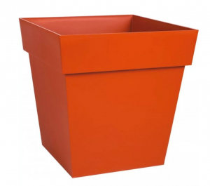 Pot carré Toscane - 24 x 24 x 24 cm - Orange Potiron