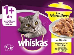 Les marmitons sachet fraîcheur en gelée pour chats - Whiskas - vollaile - 12x85 g