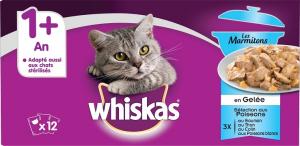 Les marmitons sachet fraîcheur en gelée pour chats - Whiskas - poisson - 12x85 g