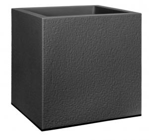 Jardinière Vivo matt structuré carré - Avec roues - Elho - 40 cm - Noir living
