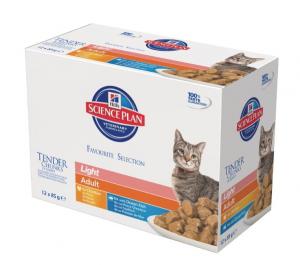 Aliment chat Science Plan Feline Adult Light 2 saveurs - Hill's - 12 x 85 g