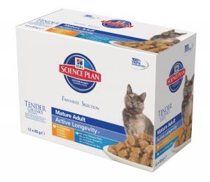 Aliment chat Science Plan Feline Mature Active Longevity 2 saveurs - Hill's - 12 x 85 g
