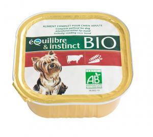 Pâtée Bio pour chien adulte - Équilibre & Instinct - Bœuf et Légumes - 300 g