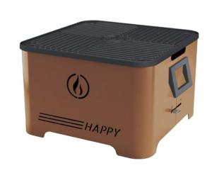 Barbecue portable Happy - Linea Grilly - granulés - corten - 35 x 35 x 23 cm