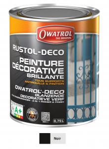 Peinture antirouille - Owatrol - Rustol-Déco - Pot de 0,75 L - Noir profond