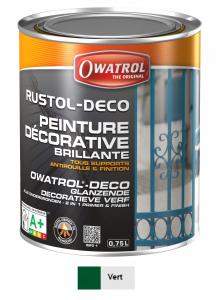 Peinture antirouille - Owatrol - Rustol-Déco - Pot de 0,75 L - Vert mousse