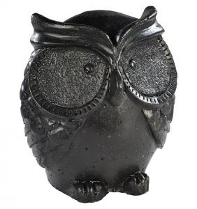 Chouette ronde ciré noir Hairie Grandon - Hauteur 18 cm.