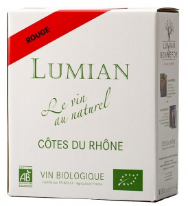 Vin bio Côtes du Rhône - Lumian - rouge - Bag in Box 3 litres