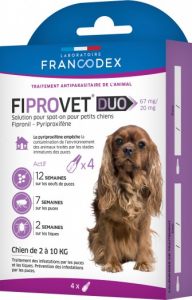 Fiprovet Duo - Francodex - Pour petits chiens - Prévention et traitement: puceset tiques - 4 pipettes de 0,67ml