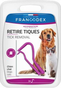 Retire tiques, 2 crochets - Francodex -Pour chiens et chats -