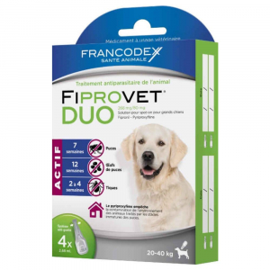 Fiprovet Duo - Francodex - Pour grands chiens - Prévention et traitement: puceset tiques - 4 pipettes de 2,68ml