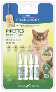 Pipettes insectifuges, antiparasitaire - Francodex - Pour chatons - 4 pipettes de 0,6ml