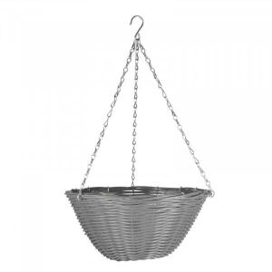 Panier suspendu en simili rotin - SMART - Gris ardoise - Ø 35 cm