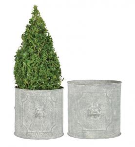 Pot de fleurs rond Lion - Esschert Design - Set de 2 pots