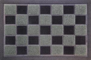 Tapis picots floqués - Noir-Gris - 40 x 60 cm