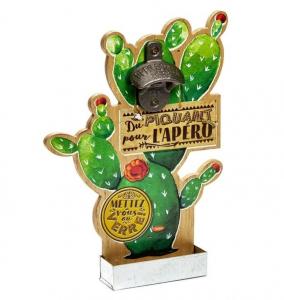 """Décapsuleur mural Cactus - Natives - """"Du piquant pour l'apéro"""" - 31 cm"""