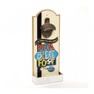"""Décapsuleur mural Soirée foot - Natives - """"Pizza Bière Foot"""" - 30 cm"""