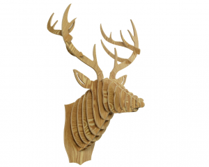 Trophée mural tête de renne en bois