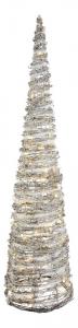 Sapin cône en rotin à leds - Effet enneigé - 90 cm
