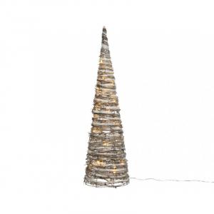 Sapin cône en rotin à leds - Effet enneigé - 60 cm