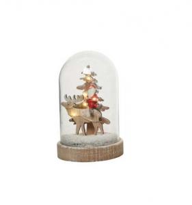 Cloche Renne et Père Noël à leds - Boiset verre - 15,5 cm