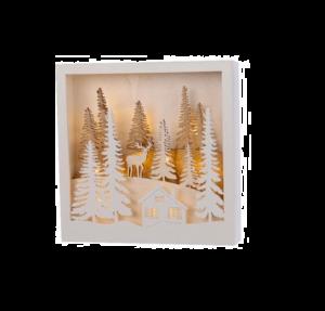 Cadre lumineux forêt, maison et renne -Bois - 25 X 25 cm