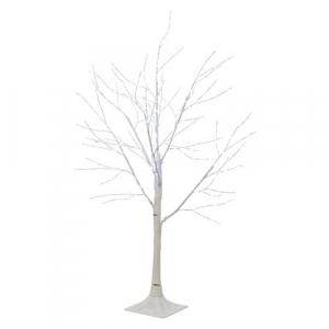 Arbre bouleau - LED - Marron/blanc chaud - Fil argent - 1 m