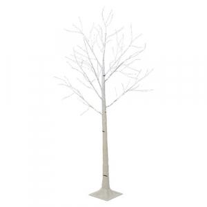 Arbre bouleau - LED - Marron/blanc chaud - Fil argent - 1,50 m