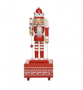 Figurine casse-noix boîte à musique - Rouge et blanc - 30 cm