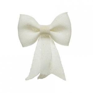 Nœud plastique - Paillettes - Blanc - 30 cm